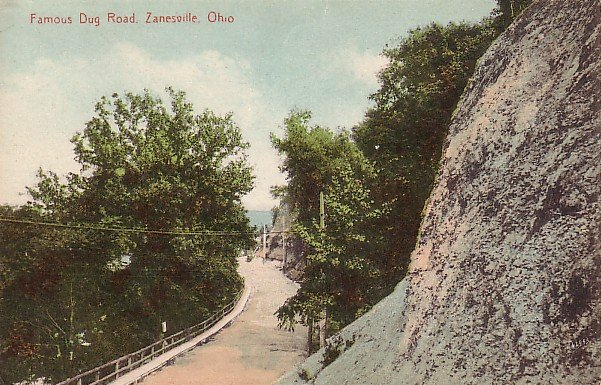 Famous Dug Road in Zanesville Ohio OH, 1913 Vintage Postcard - 1585