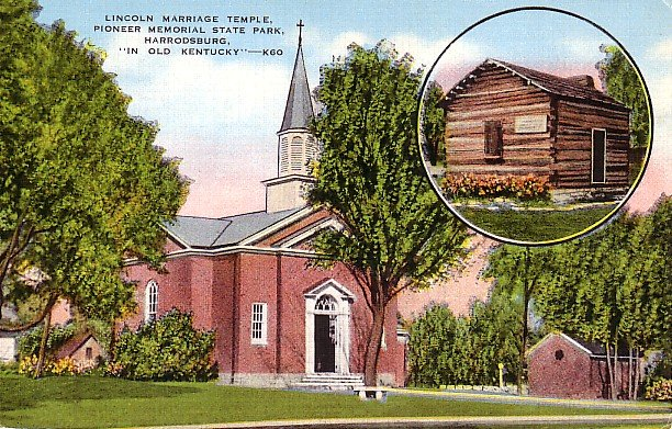 Lincoln Marriage Temple in Pioneer Memorial State Park at Herrodsburg Kentucky KY Postcard - 1596