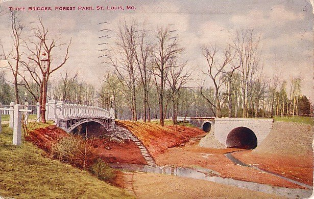 Three Bridges at Forest Park in St. Louis Missouri MO 1910 Postcard - 1610