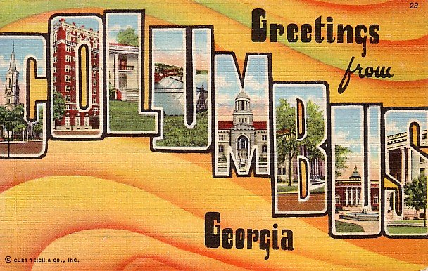 Greetings from Columbus Georgia Large Letter Linen Postcard - 1628