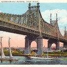 Queensboro Bridge in New York City NY, 1927 Vintage Postcard - 1659
