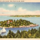 Pumkin Knob & Long Island from Peaks Island Maine ME 1945 Linen Postcard - 1707