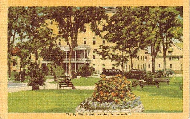 The De Witt Hotel in Lewiston, Maine ME Mid Century Linen Postcard - 1718
