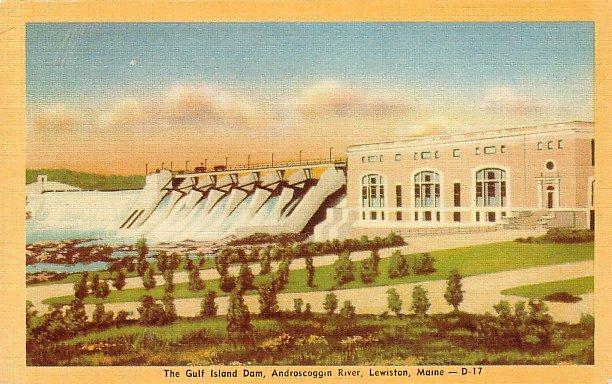 The Gulf Island Dam on the Androscoggin River in Lewiston Maine ME Linen Postcard - 1719