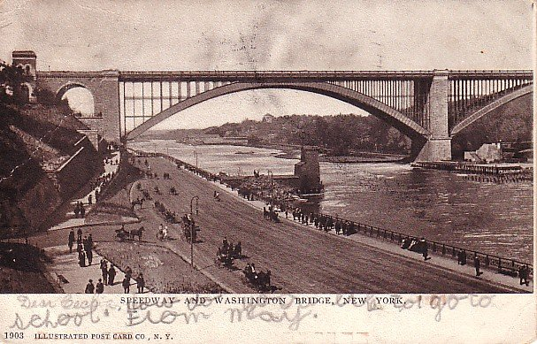 Speedway and Washington Bridge in New York City NY 1907 Vintage Postcard - 1765