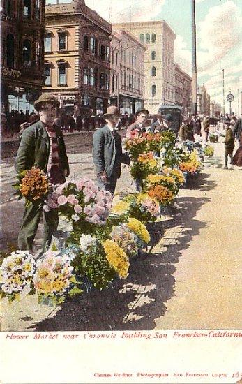 Flower Market near Chronicle Building in San Francisco California CA Vintage Postcard - 1802
