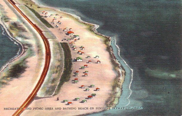 Recreation and Picnic Area on Sunshine Skyway in Florida FL Postcard - 1821
