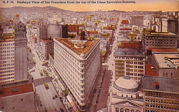 San Francisco View from Claus Spreckles Building in California CA Vintage Postcard - 1832