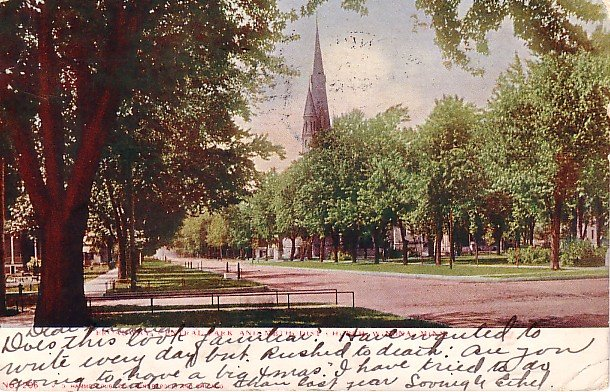 Broadway, Central Park and Methodist Church at Winona Minnesota MN 1905 Vintage Postcard - 1835