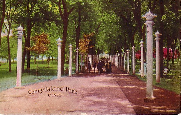 Entrance to Coney Island Park in Cincinnati Ohio OH 1908 Vintage Postcard - 1858