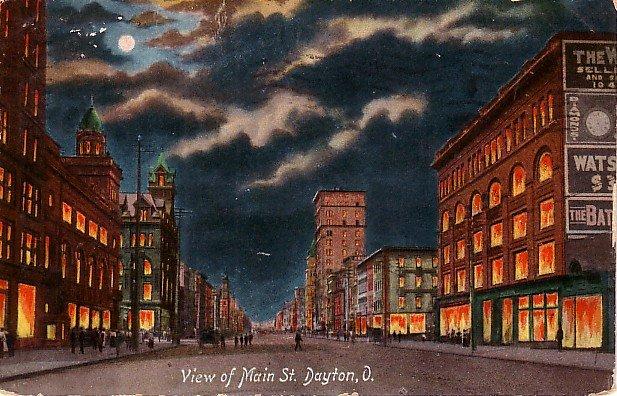 Night View of Main Street in Dayton Ohio OH 1909 Vintage Postcard - 1889