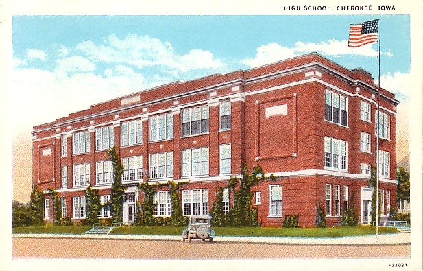High School at Cherokee Iowa IA Curt Teich Vintage Postcard - 1892