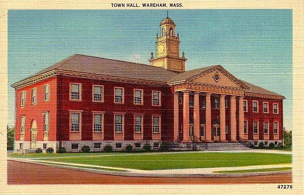 Town Hall at Wareham Massachusetts MA, Mid Century Linen Postcard - 1932