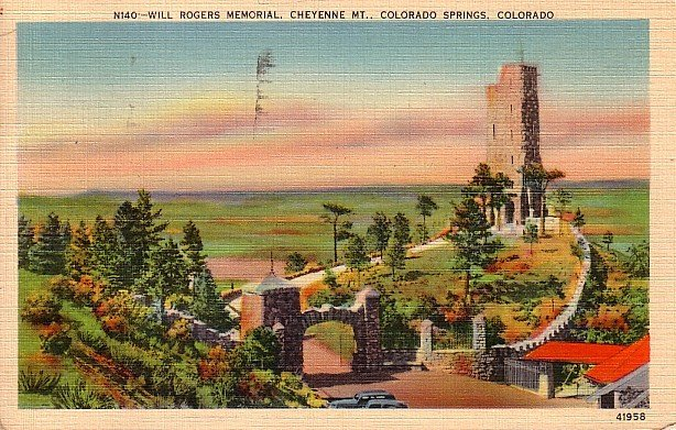 Will Rogers Memorial on Cheyenne Mountain in Colorado Springs CO Linen Postcard - 1933