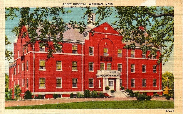 Tobey Hospital in Wareham Massachusetts MA Linen Postcard - 1934