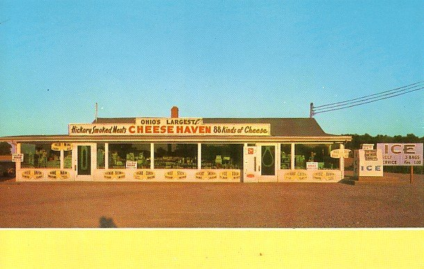 Cheese Haven in Clinton, Largest Cheese Shop in Ohio OH Advertising Postcard - 1936