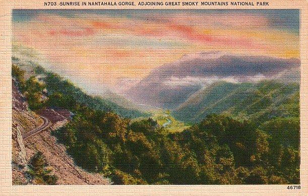 Nantahala Gorge in Great Smoky Mountains National Park Linen Postcard - 1939