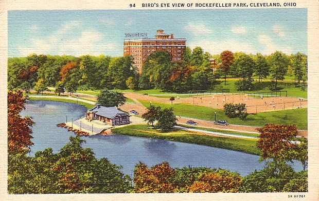 Bird's Eye View of Rockefeller Park in Cleveland Ohio OH, 1935 Curt Teich Linen Postcard - 1998