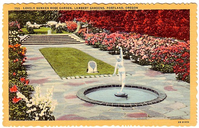 Lambert Gardens Sunken Rose Garden in Portland Oregon OR 1949 Curt Teich Postcard - 2062
