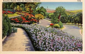 Elysian Park in Los Angeles California CA 1939 Linen Postcard - 2131