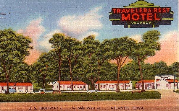 Travelers Rest Motel on U.S. Highway 6, Atlantic Iowa IA Linen Postcard - 2134