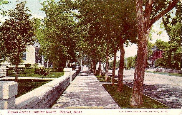 Ewing Street Looking North in Helena Montana MT Vintage Postcard - 2158