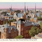 Birds eye View of Worcester Massachusetts with Gilded Windows, Vintage Postcard - 2184