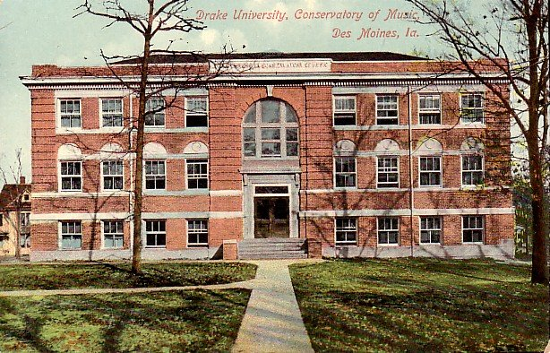 Conservatory of Music at Drake University in Des Moines, Iowa IA Postcard - 2211