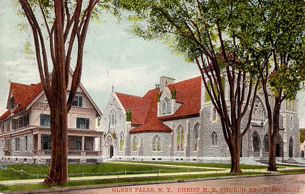 Christ Methodist Church and Parsonage in Glen Falls, New York NY Postcard - 2235