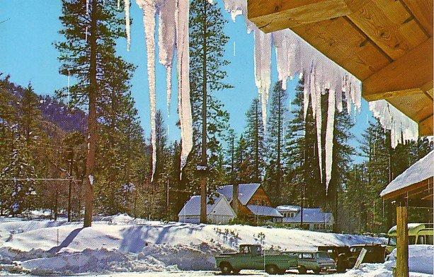 Winter time at Glen Lodge in Camp Angelus, California CA Chrome Postcard - 2250