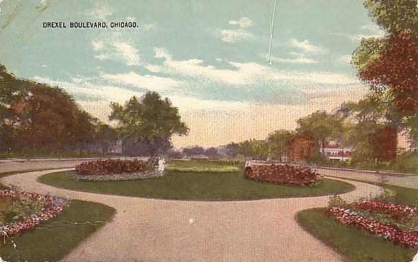 Drexel Boulevard Circle Drive in Chicago Illinois IL Vintage Postcard - 2261