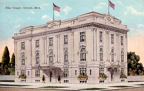 Elks Temple in Detroit Michigan MI 1922 Vintage Postcard - 2269