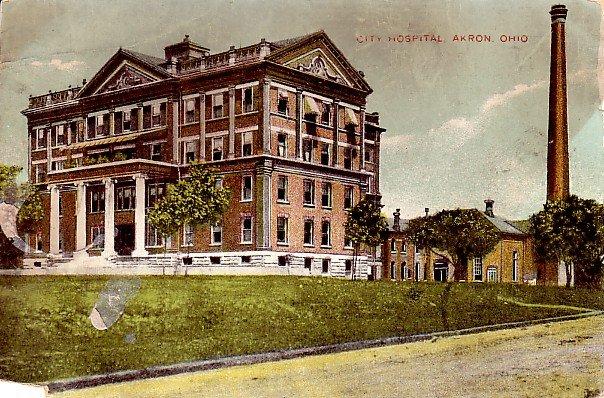 City Hospital in Akron Ohio Vintage Postcard - 2310