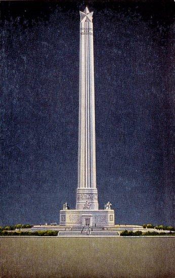San Jacinto Memorial Shaft in Houston Texas TX, Linen Postcard - 2327