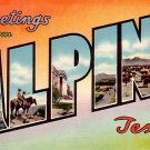 Greetings from Alpine Texas TX, Large Letter Linen Postcard - 2338