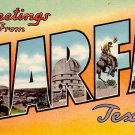 Greetings from Marfa Texas TX, Large Letter Linen Postcard - 2340