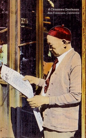 Chinatown Gentleman Reading Paper in San Francisco California CA Linen Postcard - 2392