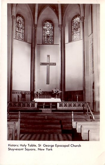 RPPC Actual Photograph of Historic Holy Table in St George Episcopal Church New York - 2400