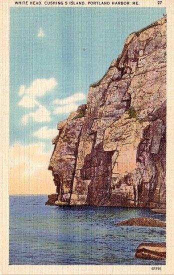 White Head Cushing Island in Portland Harbor, Maine ME Linen Postcard - 2404