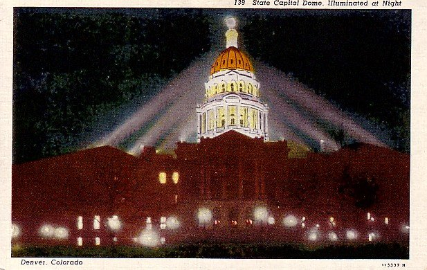 State Capitol Dome Illuminated at Night in Denver Colorado CO Linen Postcard - 2406