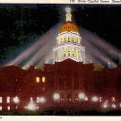 State Capitol Dome Illuminated at Night in Denver Colorado CO Linen Postcard - 2406
