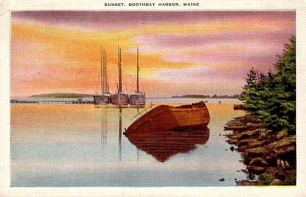 Sunset at Boothbay Harbor Maine ME, Linen 1943 Postcard - 2440