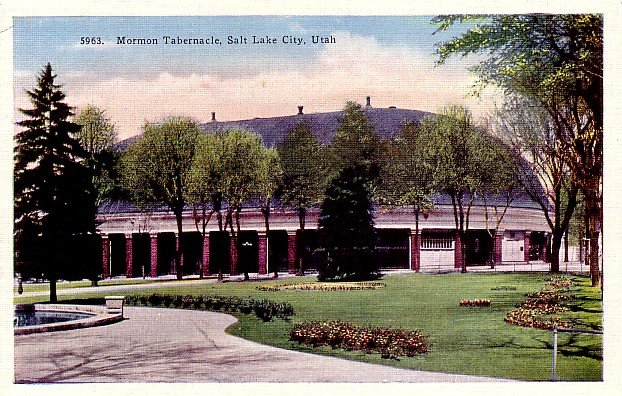 Mormon Tabernacle Salt Lake City Utah UT, Linen Postcard - 2457
