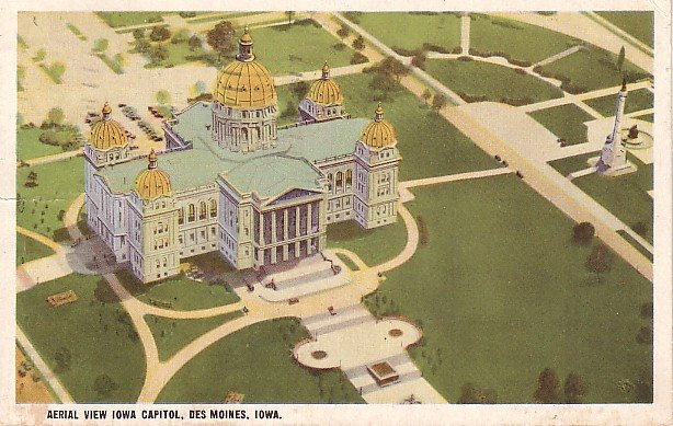 Aerial View of Iowa State Capitol in Des Moines IA, Vintage Postcard - 2477