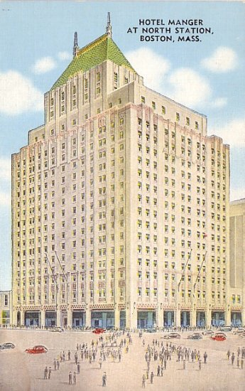 Hotel Manger at North Station in Boston Massachusetts MA, Linen Postcard - 2494