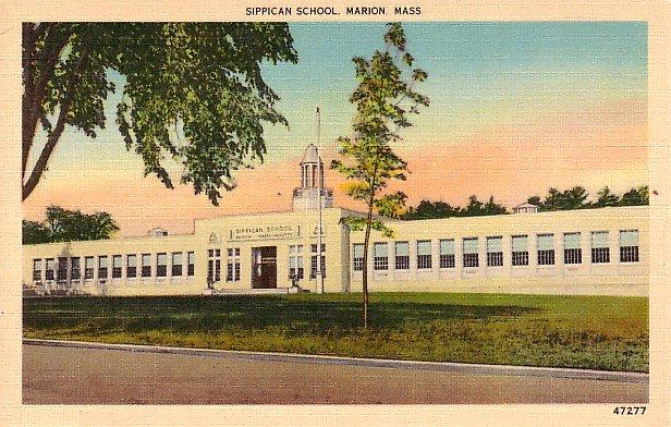 Sippican School in Marion Massachusetts MA, Mid Century Linen Postcard - 2500