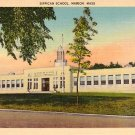 Sippican School in Marion Massachusetts MA, Mid Century Linen Postcard - 2500