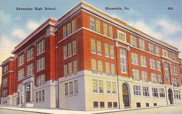 Shamokin High School in Pennsylvania PA, Mid Century Linen Postcard - 2512