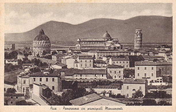 View of City and Monuments in Pisa Italy Vintage Postcard - 2547