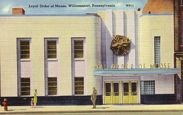 Loyal Order of Moose in Williamsport Pennsylvania PA, Linen Postcard - 2577